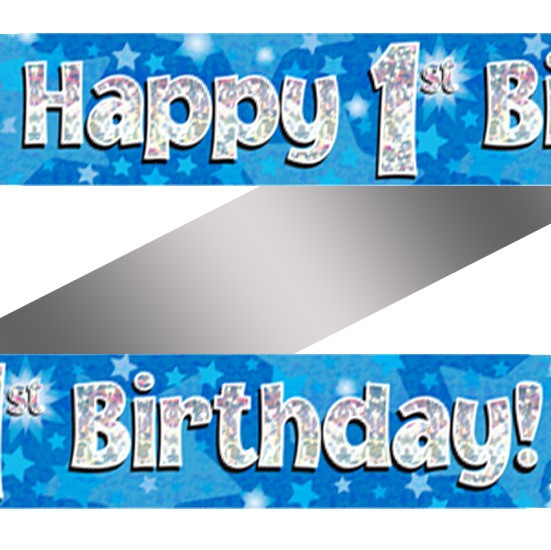 Holographic Happy 1st Birthday Banner Forget Me Not Party Shop