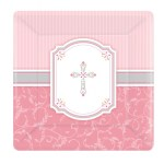 Girls Communion Pink Paper Dinner Plates