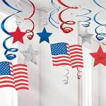 30 pack of American themed hanging decorations