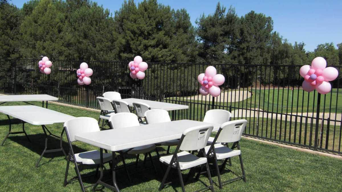 Balloon flowers on fence