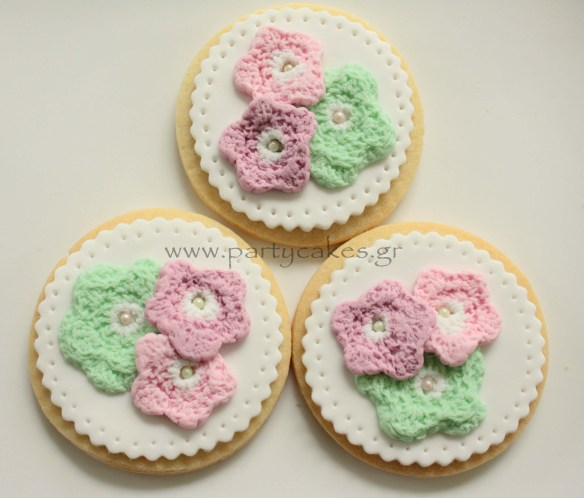 μισκοτα λουλουδια crocheted crochet flower cookie