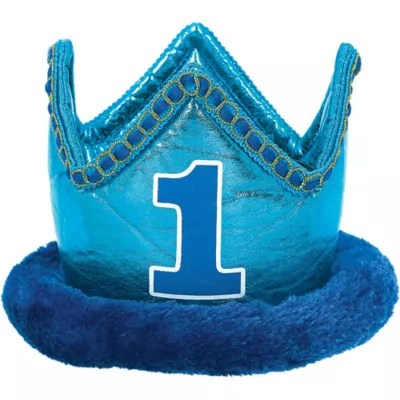 Small Blue 1st Birthday Plush Crown 6in X 4 1 2in Party City