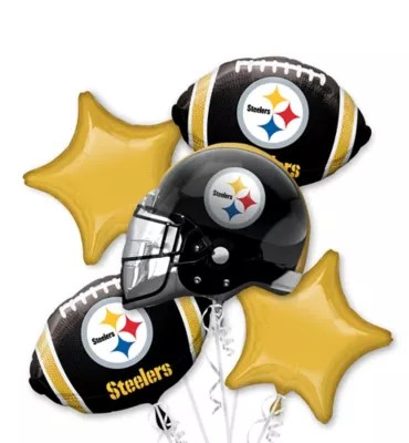 Pittsburgh Steelers Football Balloon Bouquet 5pc Party City