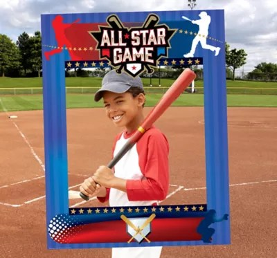 Giant Baseball Photo Booth Frame 28in X 36in Party City