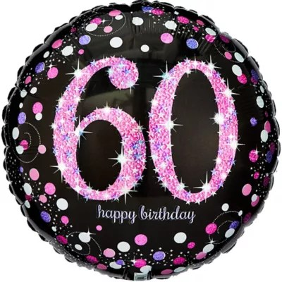 60th Birthday Balloon 18in Pink Sparkling Celebration Party City
