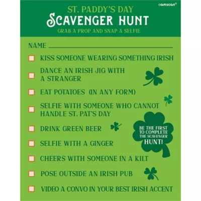 St Patrick S Day Scavenger Hunt With Photo Props Party City
