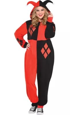 Adult Zipster Harley Quinn One Piece Costume Plus Size