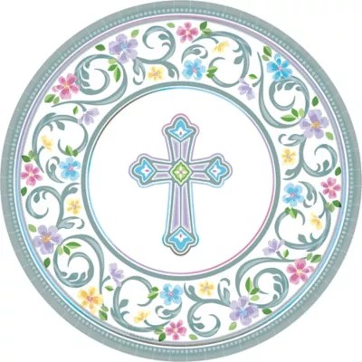 Blessed Day Religious Dinner Plates 18ct Party City