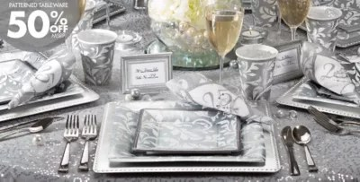 Silver 25th Wedding Anniversary Party Supplies