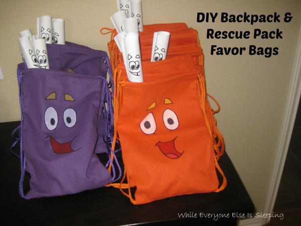 DIY Dora Backpack Favors