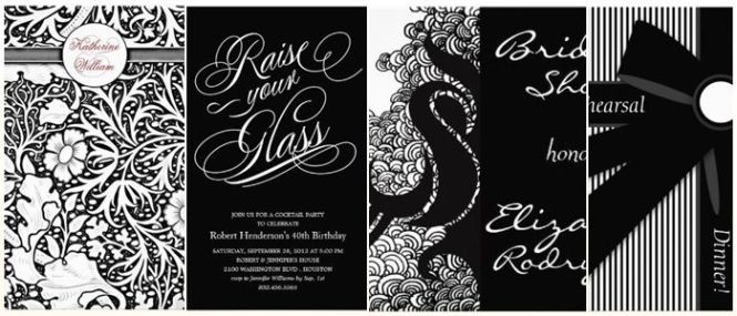 Stylish Black White Dinner Party Invitations