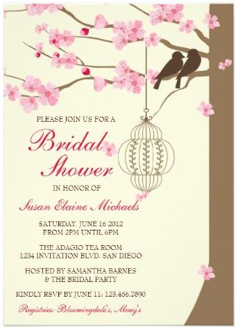 Pretty Spring Theme Bridal Shower Cherry Blossom Fl Invitations