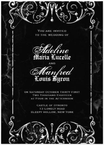 Gothic Victorian Y Black White Wedding Personalized Announcements