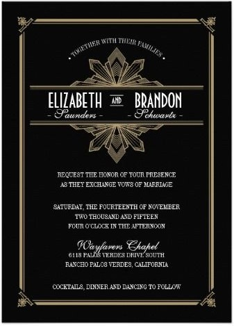 Great Gatsby Wedding Invitations By Lucky Luxe Couture Correspondence Via Oh So Beautiful Paper 5
