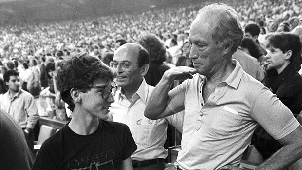 Pierre Trudeau with son Justin at a 1987 Montreal Expos game