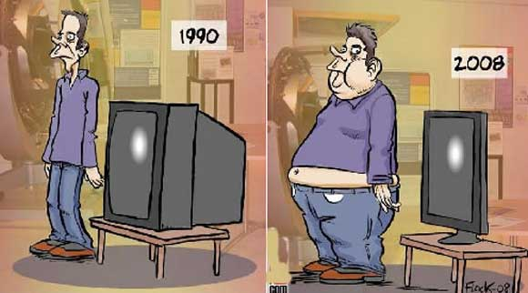 Funny how we get fatter as TV's get thinner