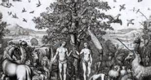 Adam (left) and Eve (right) being tempted by the serpent to partake in the fruit of the tree of worldly knowledge.
