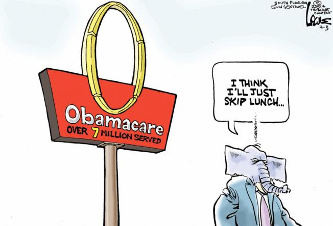 Obamacare cartoon, best editorial cartoons 2014