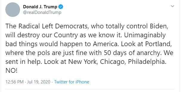 Trump tweet, Biden