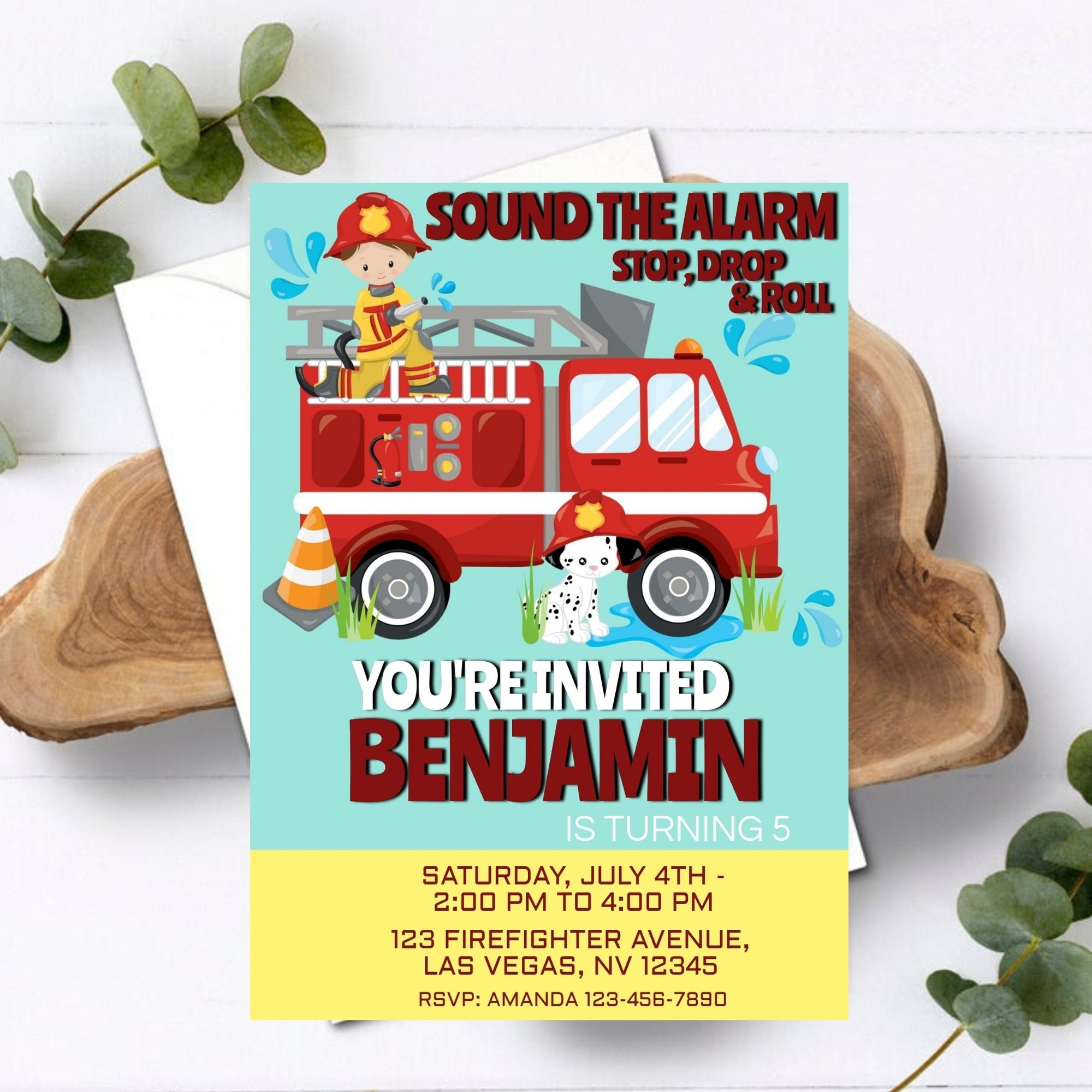 Fire and firefighter department icons, fireman helmet and axe badges. Editable Firefighter Party Birthday Invitation Partylovin