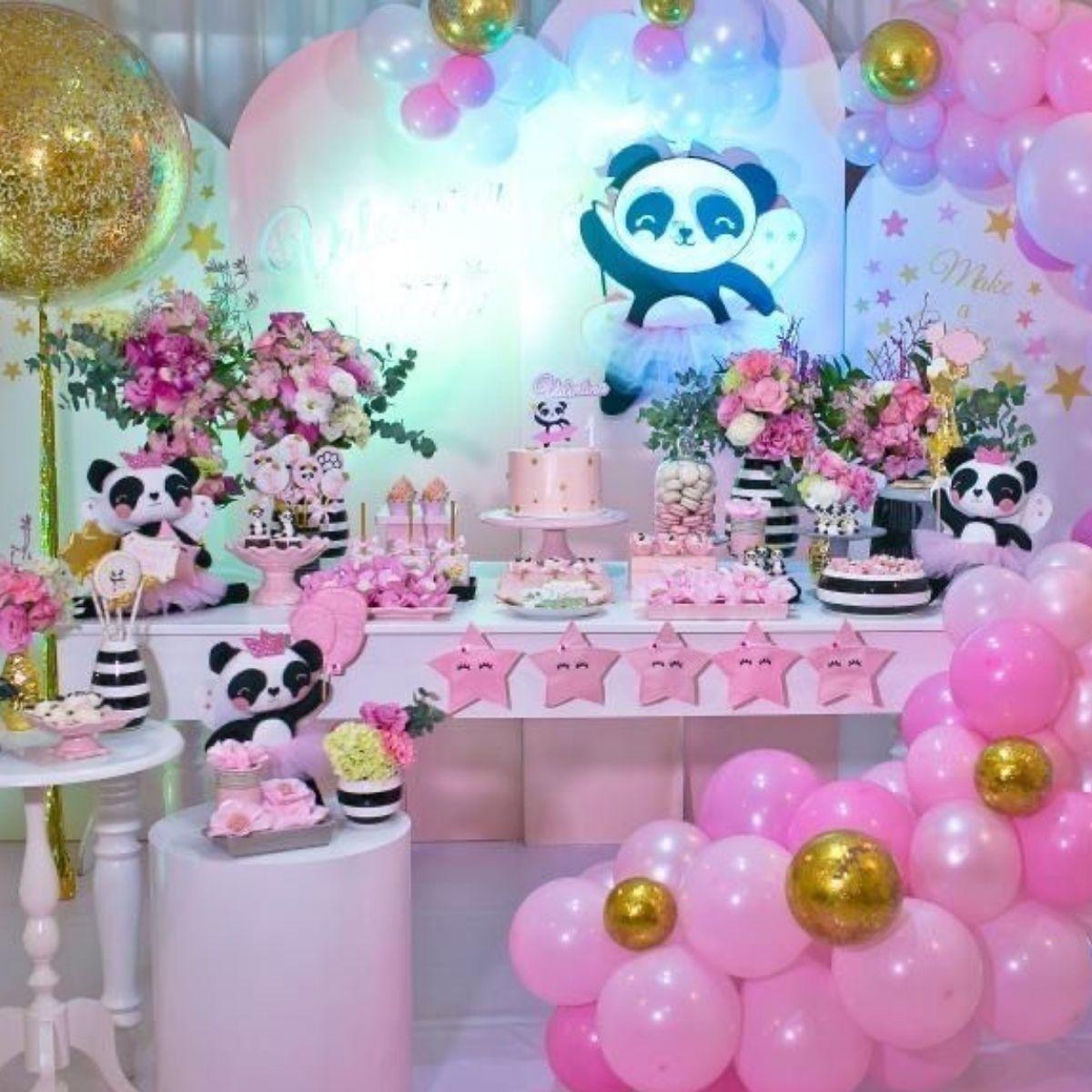 Girly Girl Pink Baby Panda Birthday