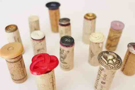 create unique stamps with wine corks and buttons