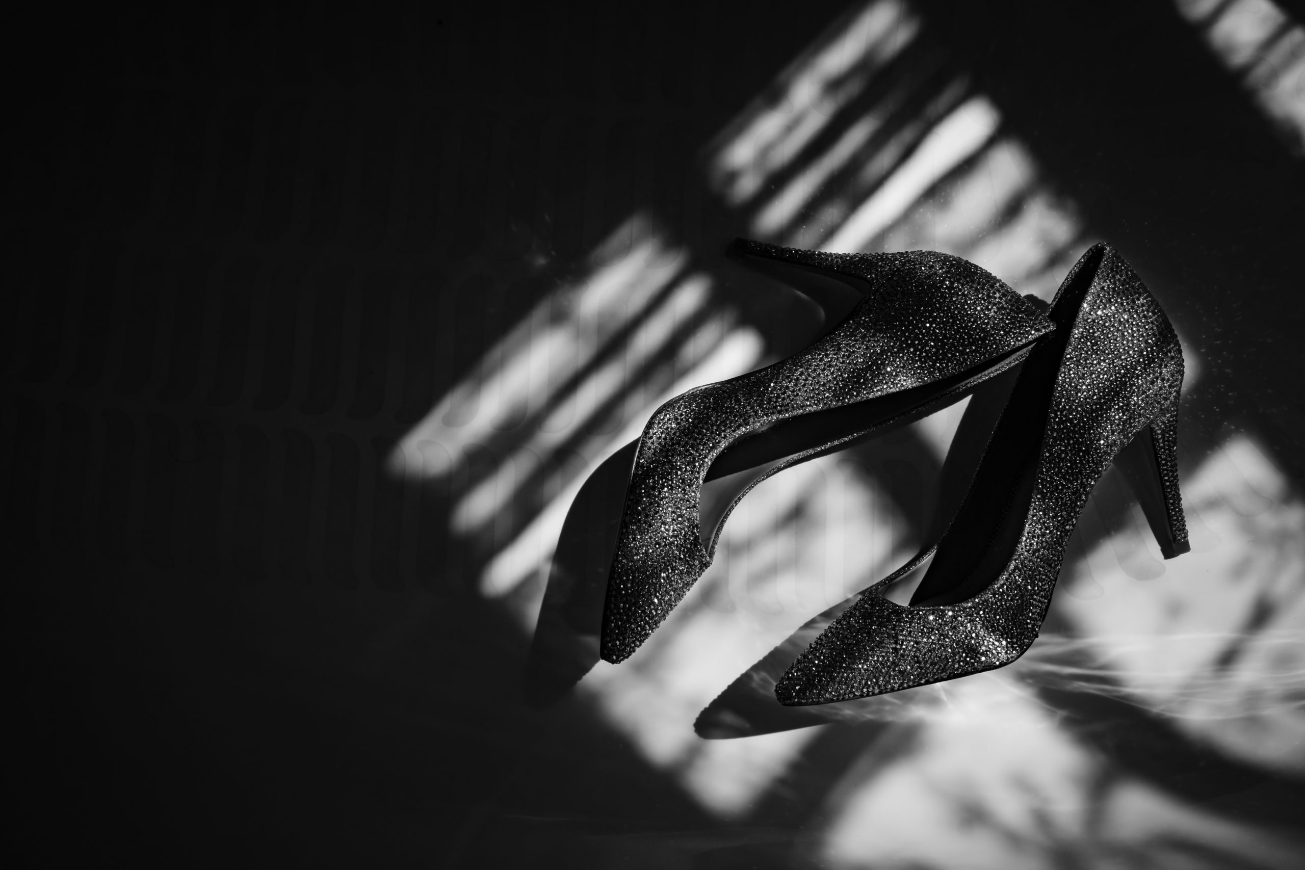 Dramatic Wedding Shoes Detail Shot