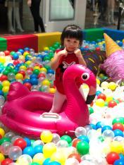 Kids on Flamingo Float