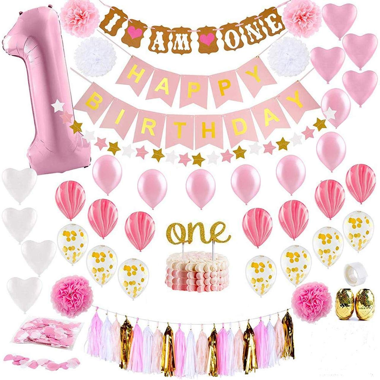 Girls First Birthday Decorations Items Combo 65pcs For Baby Girl 1st Bday Decor Photo Booth Backdrop Decoration Materials 1st Birth Day Party Decor Stylish Latest Pink White Birtgday Set Party Propz Online Party Supply