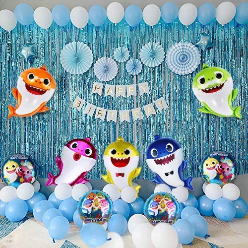 Baby Shark Foil Balloons Decorations Combo Set Of 6 For Happy Birthday Party Supplies Baby Shark Theme Ballons Decoration Items Girls Boys Kids Baloons Each 25 Big Helium Inflatable Party Propz Online