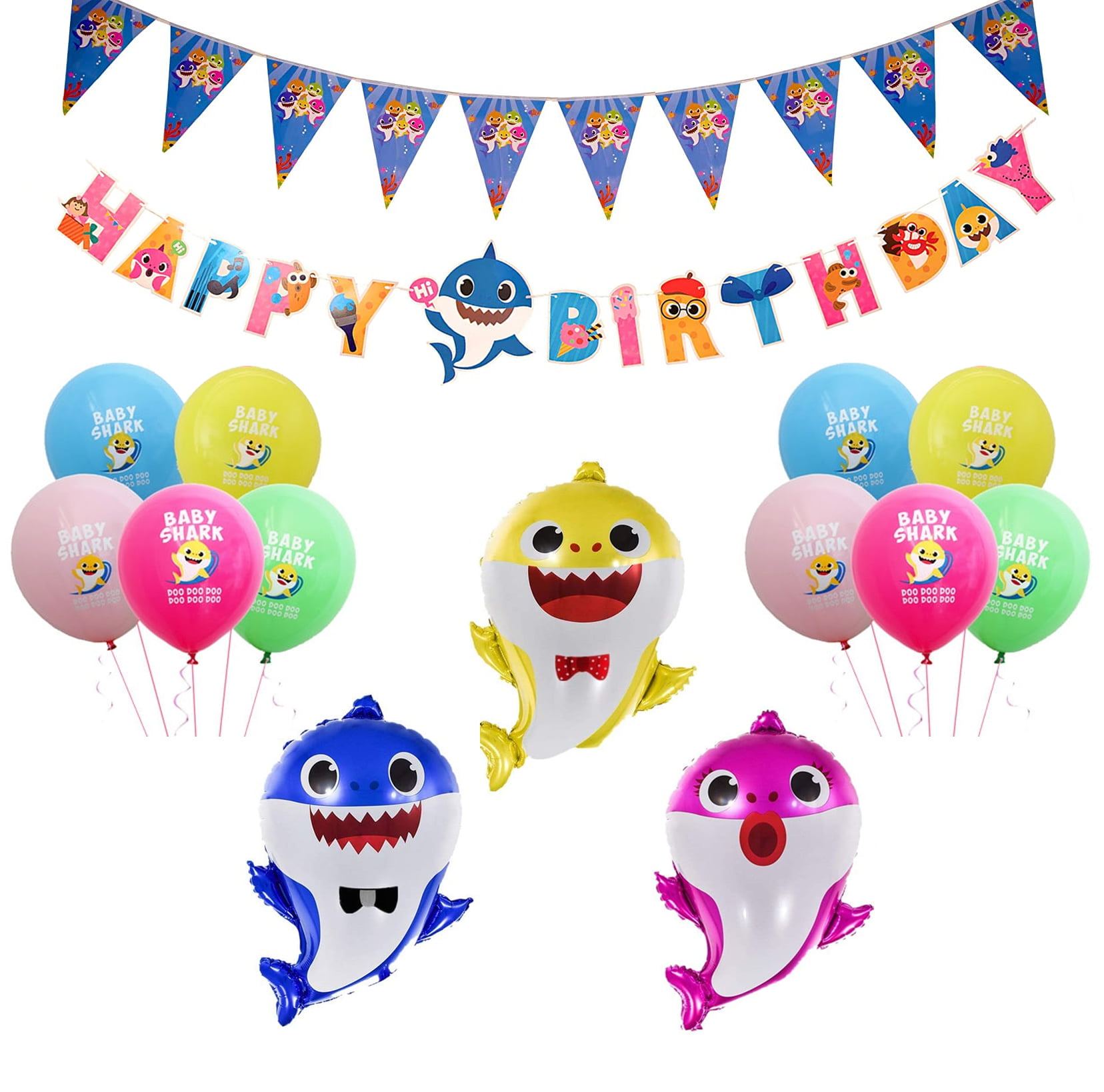 Baby Shark Theme Birthday Decoration Kit For Kids 15pcs Boys Girl Babies Toddlers Bday Decorations Materials High Quality Foil Balloons Happy Birthday Banner Penant Banner Unique Items Party Propz Online Party