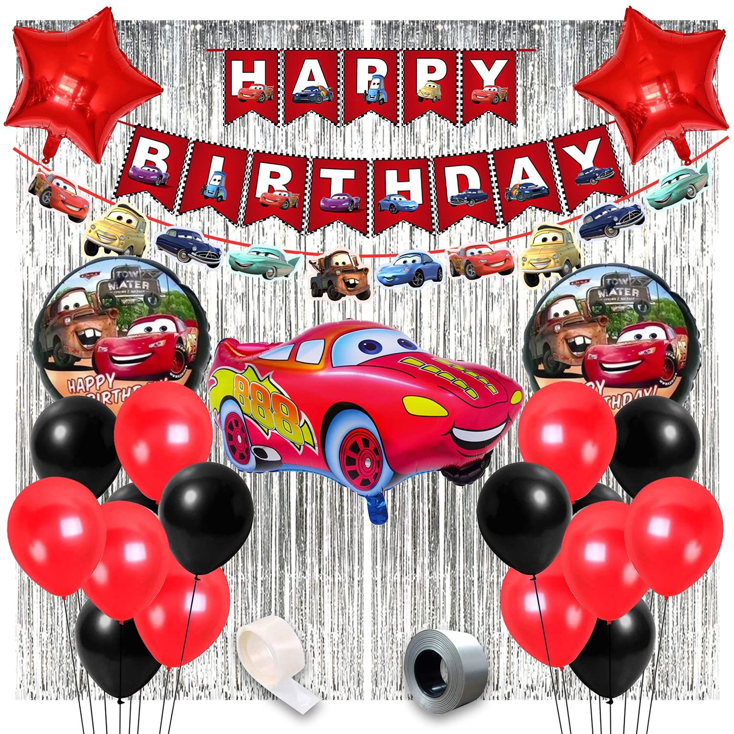 Mcqueen Car Birthday Theme Decorations For Party Supplies 50pcs Combo Set For Kids Birthday Decoration Boys Birthday Decoration Items Car Birthday Theme Decoration Party Propz Online Party Supply And