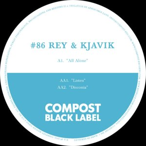 label artwork der platte auf compost von rey & kjavik all alone