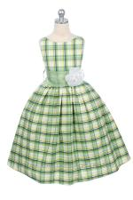 Green Plaid Flower Girl Dress