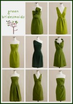 A Variety of Green Bridesmaid Dresses
