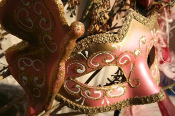 pink and gold masquerade mask