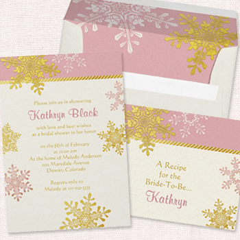 Pink and Gold Snowflake Bridal Shower Invitation Set