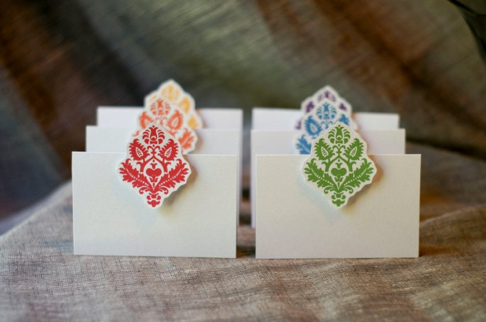Rainbow Damask Place Cards
