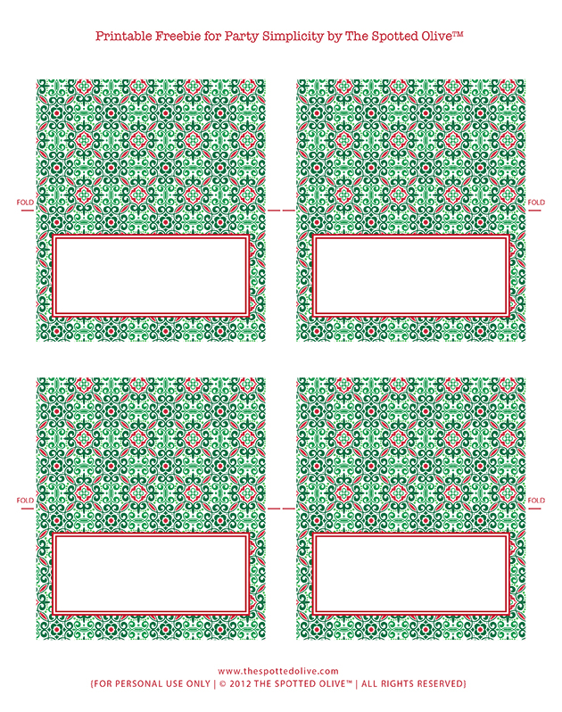 Free Printable Christmas Folded Display Cards