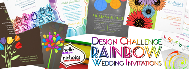 Party Simplicity Rainbow Wedding Invitations Design Challenge