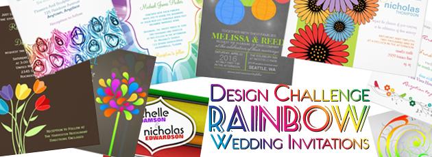 Party Simplicity Rainbow Wedding Invitations Design Challenge