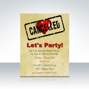 Anti-Valentine's Day Single's Party Invitations
