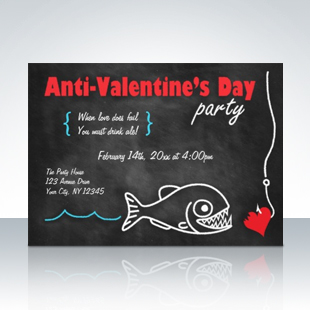 Chalkboard Piranha Anti-Valentines Day Invitations