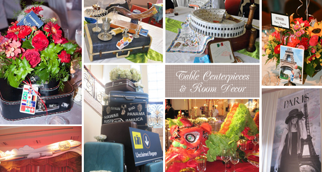Travel Theme Bar/Bat Mitzvah Centerpieces and Room Decor