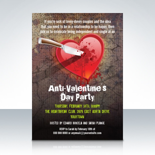 Stabbed Heart Anti-Valentine's Day Party Invitations