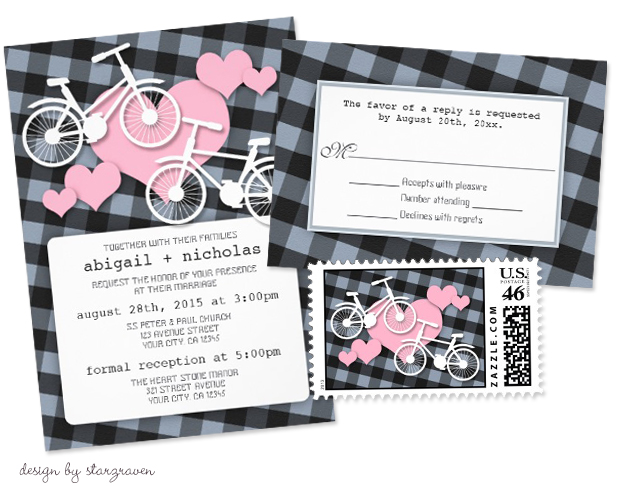 Bicycle Wedding Trend | Alternative Gingham Bicycle Wedding Invitation by Starzraven