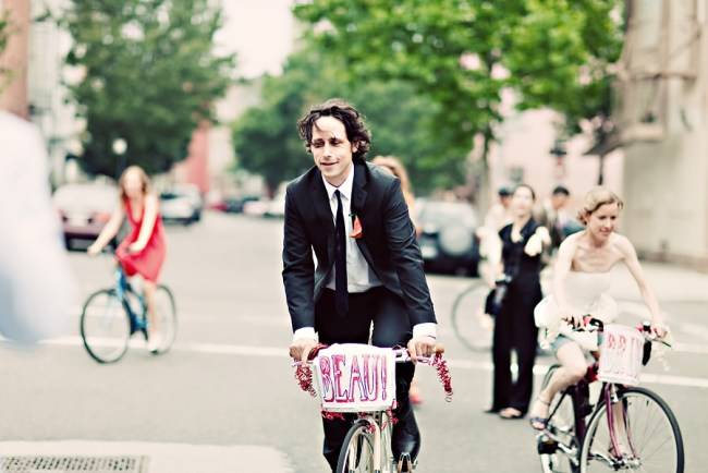 Bicycle wedding procession