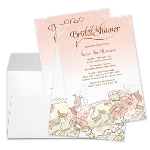 Blush pink and white ombre floral bridal shower invitation