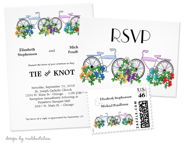 Bicycle Wedding Trend | Spring Floral Bicycle Wedding Invitations by Malibuitalian