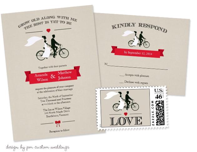 Bicycle Wedding Trend | Tandem Bicycle Vintage Wedding Invitations by PM Custom Weddings